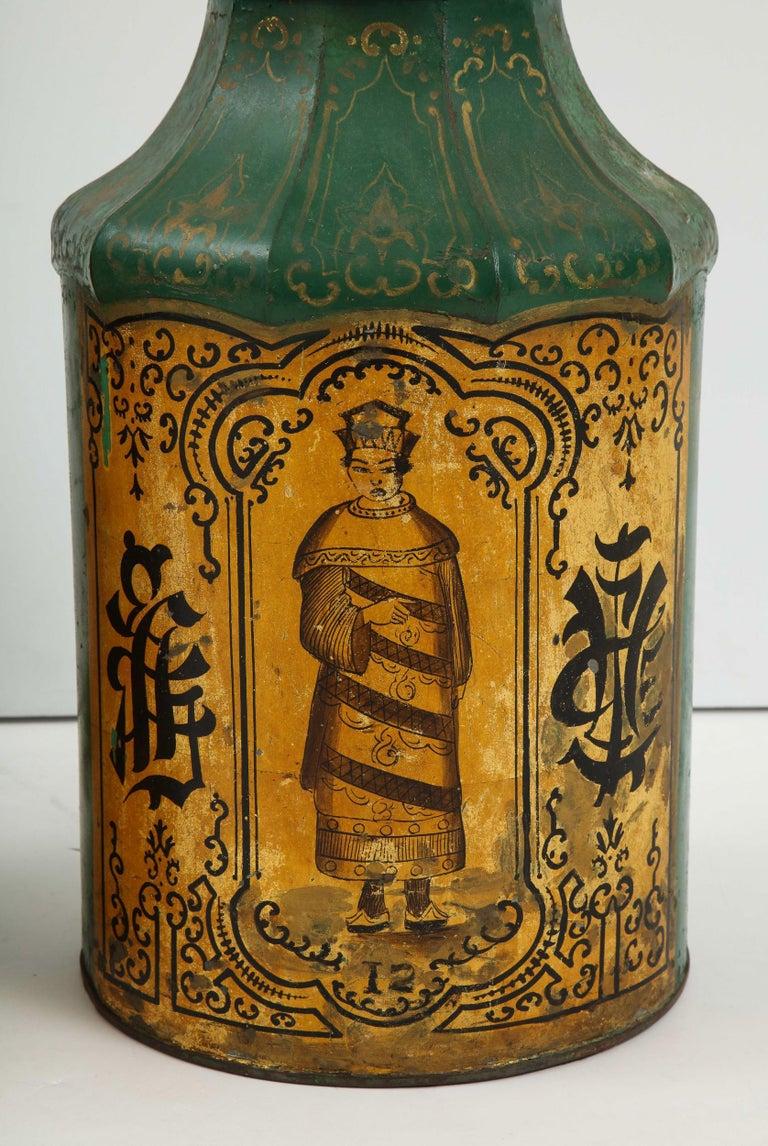 Pair Regency Tole Tea Tin Lamps For Sale 2