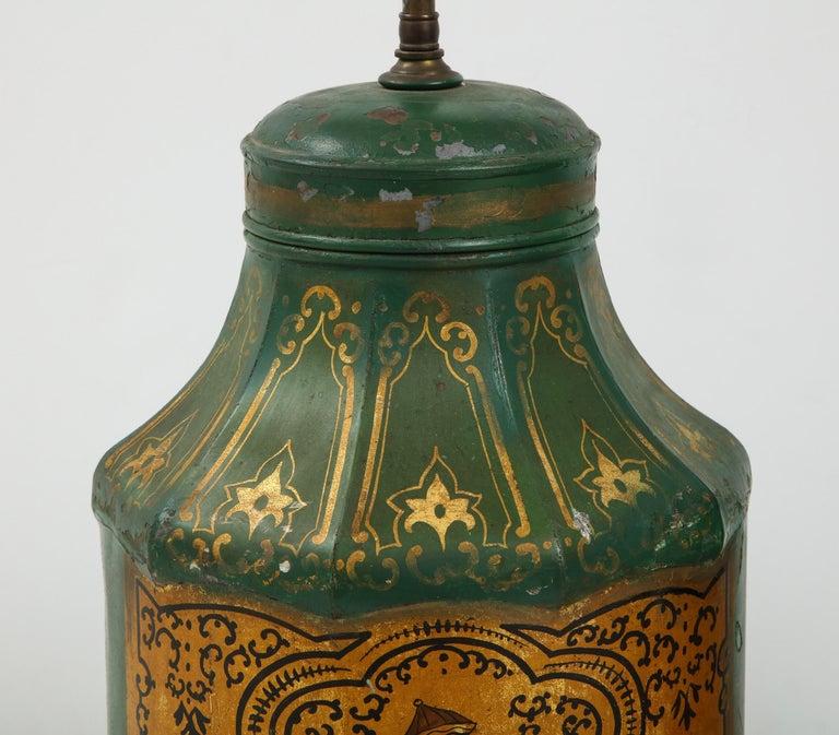 Pair Regency Tole Tea Tin Lamps For Sale 3