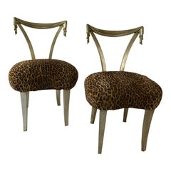 Pair of Grosfeld House Silver Leaf Leopard Tassel Chairs