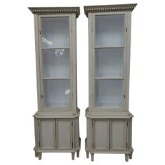 Pair of Gustavian Style Glass Top Display Cabinets