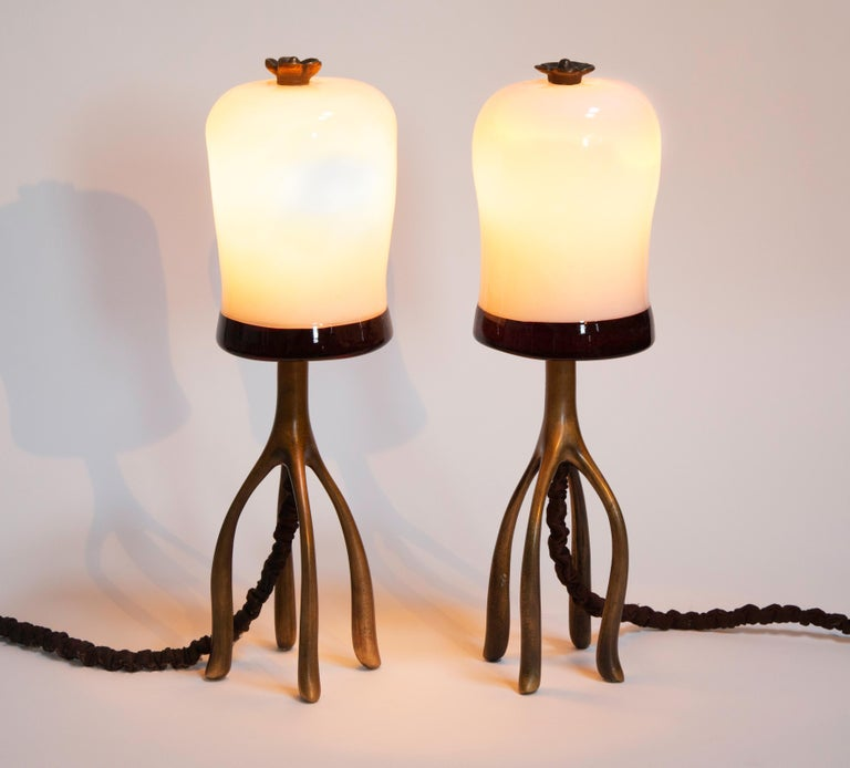 American Pair H57 Boudoir Table Lamp: Cast Bronze + Blown Glass, Jordan Mozer, USA 2007 For Sale