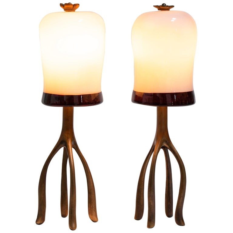 Pair H57 Boudoir Table Lamp: Cast Bronze + Blown Glass, Jordan Mozer, USA 2007 For Sale