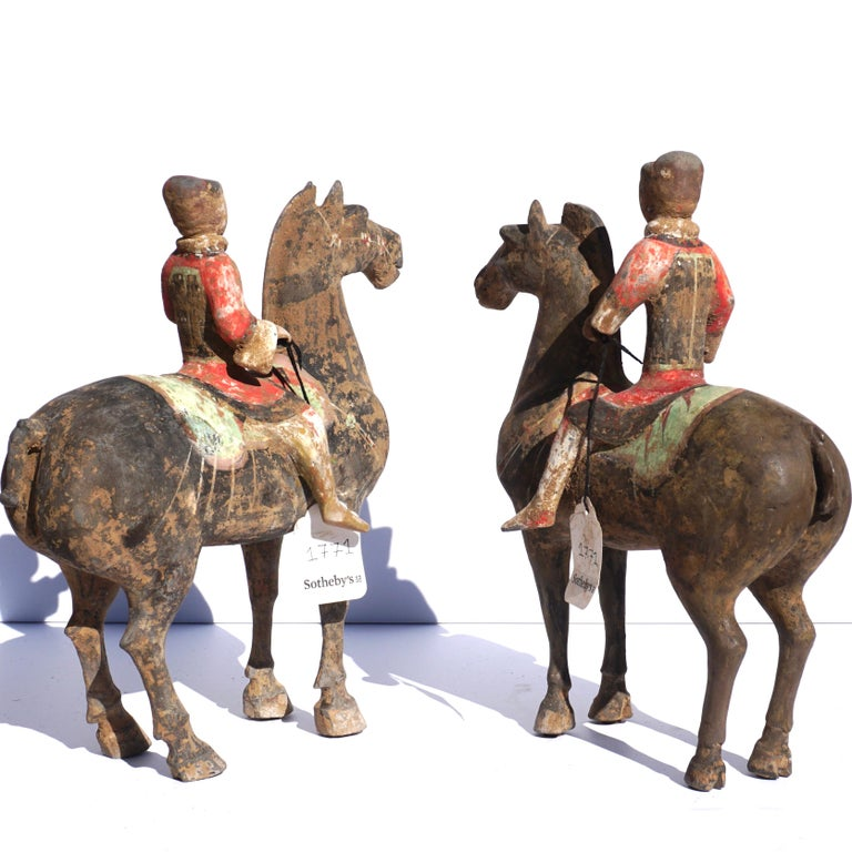 Chinoiserie Pair of Han Dynasty Pottery Horse and Equestrian Riders For Sale