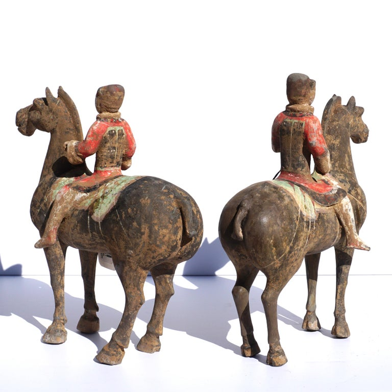 Chinese Pair of Han Dynasty Pottery Horse and Equestrian Riders For Sale