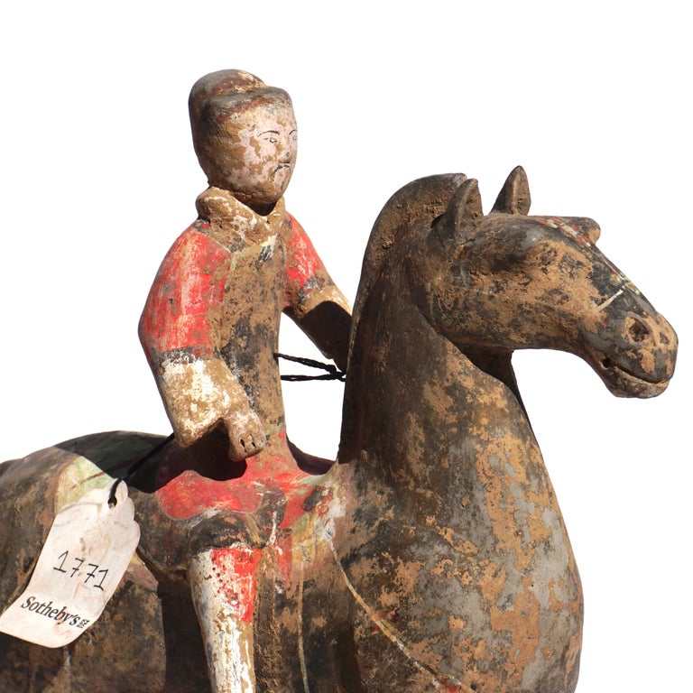 Hand-Crafted Pair of Han Dynasty Pottery Horse and Equestrian Riders For Sale