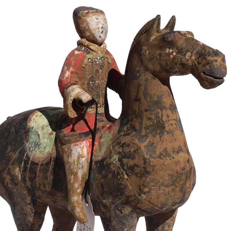 Pair of Han Dynasty Pottery Horse and Equestrian Riders In Good Condition For Sale In Dallas, TX