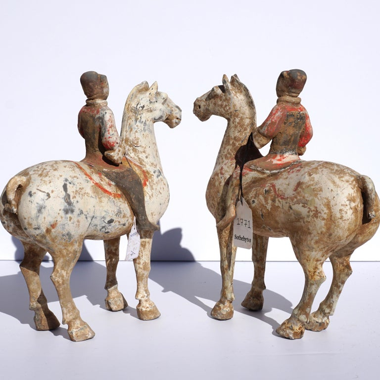Chinese Pair of Han Dynasty pottery Horses and Equestrian Riders For Sale