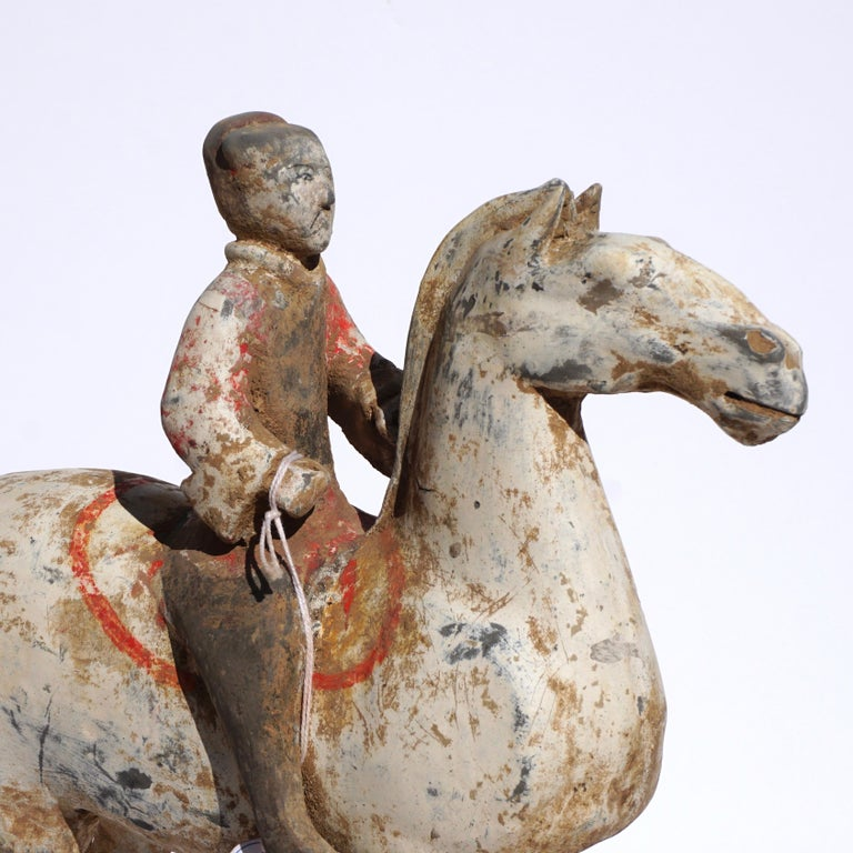 Pair of Han Dynasty pottery Horses and Equestrian Riders In Good Condition For Sale In Dallas, TX