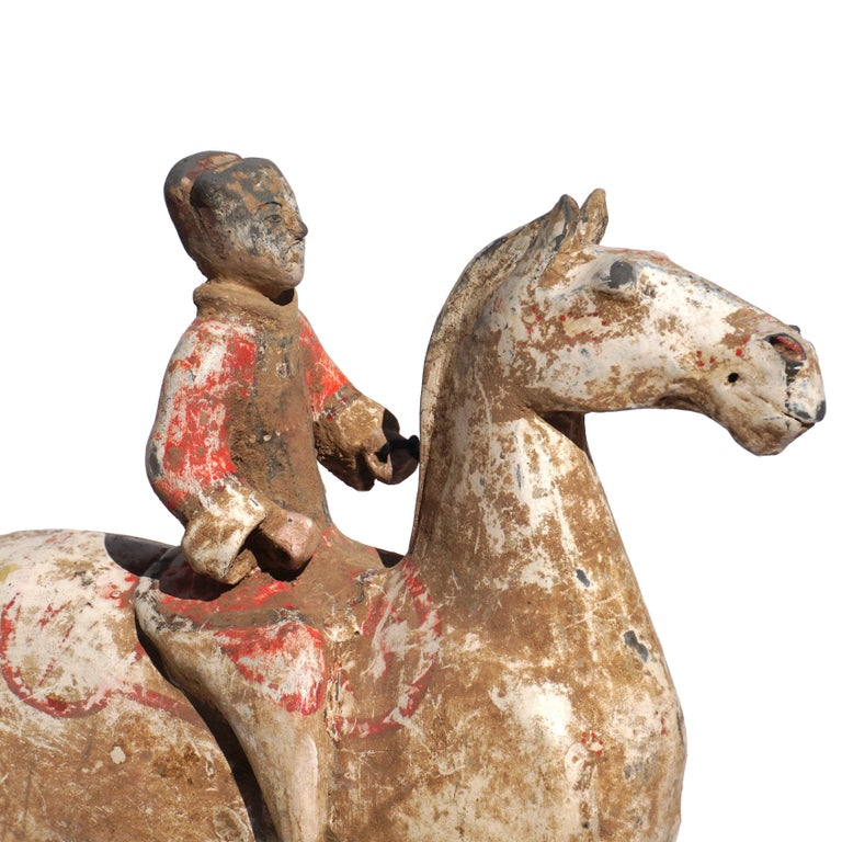 18th Century and Earlier Pair of Han Dynasty pottery Horses and Equestrian Riders For Sale