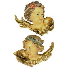 Pair of Hand Carved Cherub Angel Head, Anri, Italy, 1960s