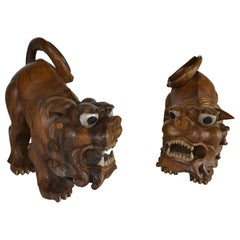 Pair Hand Carved Foo Dogs