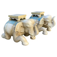 Pair Hand Carved Polychromed Wood Elephant Garden Seats