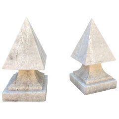 Hand Carved Stone Pyramid Finial Cap Base Pedestal Antiques, Pair Los Angeles CA