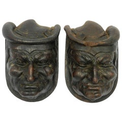 Pair of Hand Carved Wood Heads French Gargoyle Antique Sculpture Gothic Revival