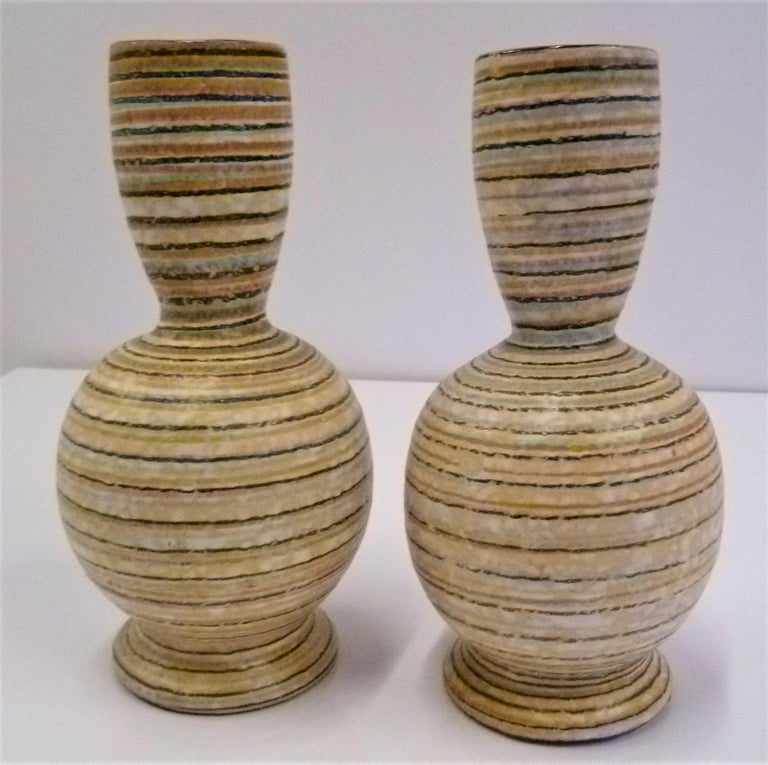 Glazed Handmade Italian Modern Striped Pottery Vases Retailed by Guildcraft 1960s, Pair For Sale