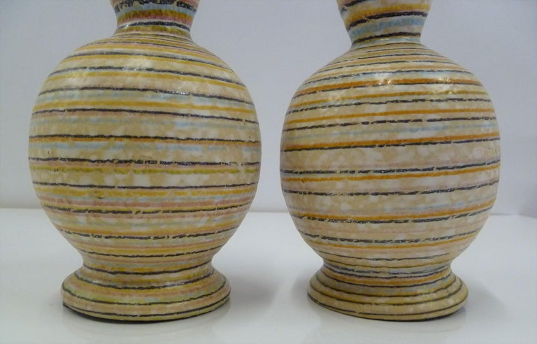 Mid-20th Century Handmade Italian Modern Striped Pottery Vases Retailed by Guildcraft 1960s, Pair For Sale