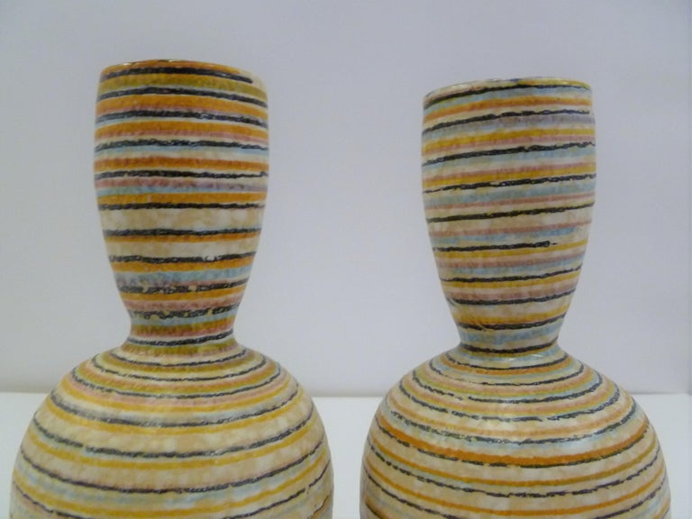 Ceramic Handmade Italian Modern Striped Pottery Vases Retailed by Guildcraft 1960s, Pair For Sale