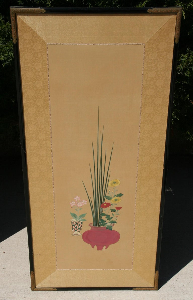 Pair Hand Painted Asian Panels/Screens For Sale 6