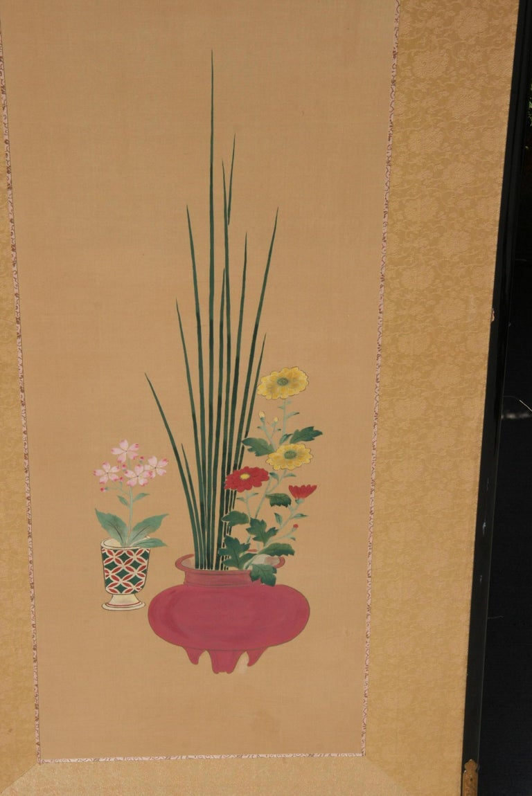 Pair Hand Painted Asian Panels/Screens For Sale 7
