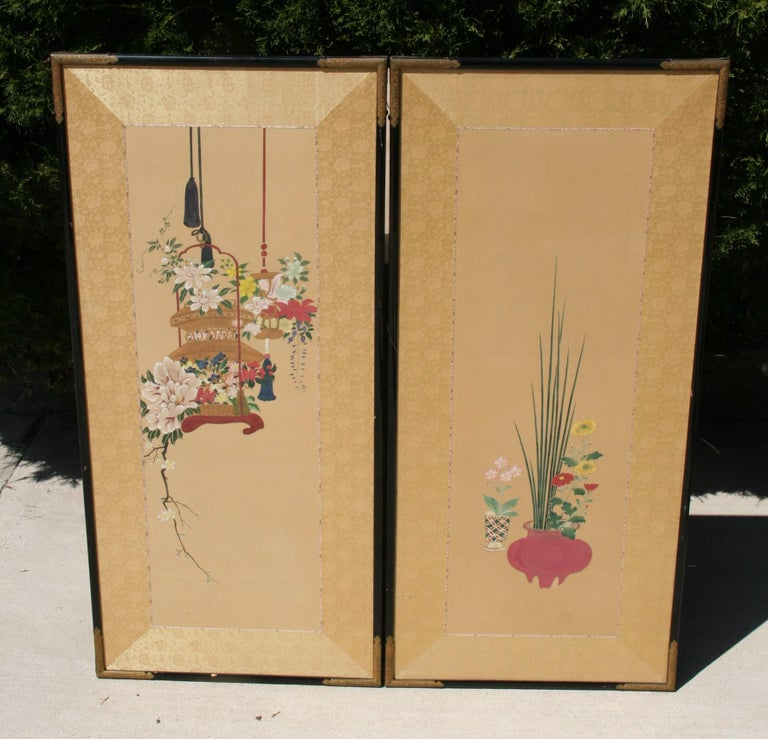 3-500 pair hand painted Asian panels/screens Measures: Individual panel 20.5 x 44 Together 41 x 44