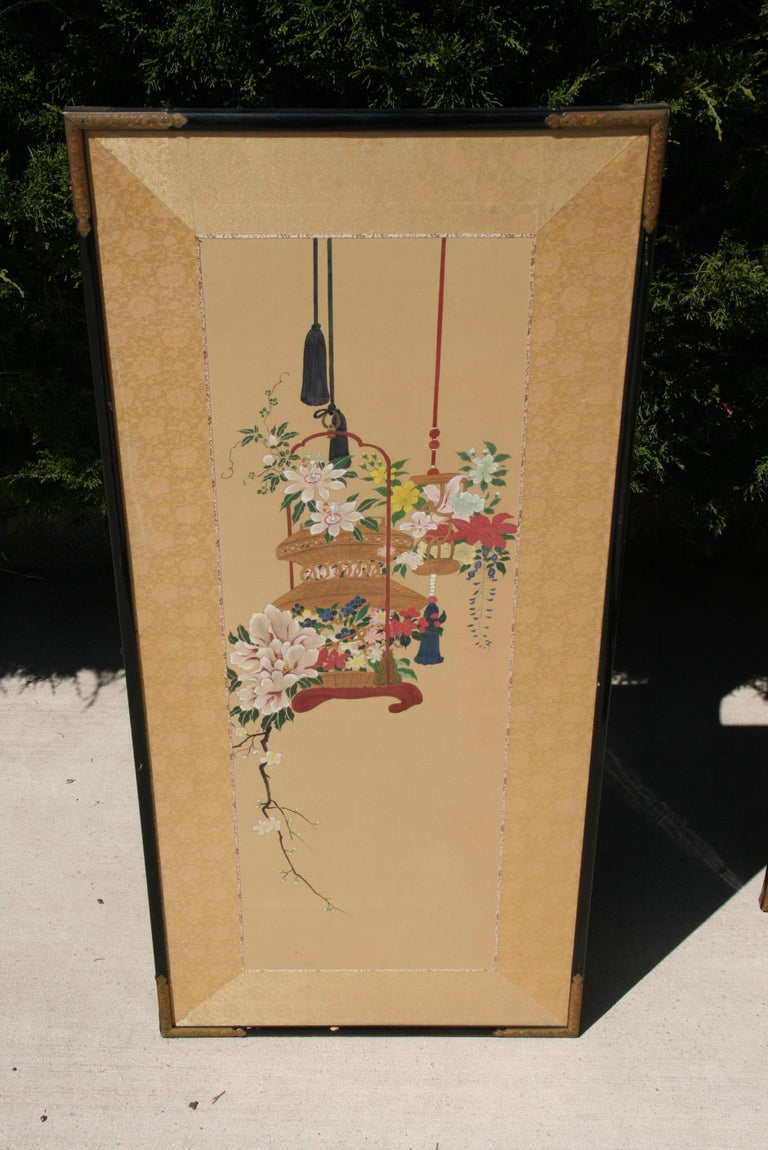 Pair Hand Painted Asian Panels/Screens In Good Condition For Sale In Douglas Manor, NY