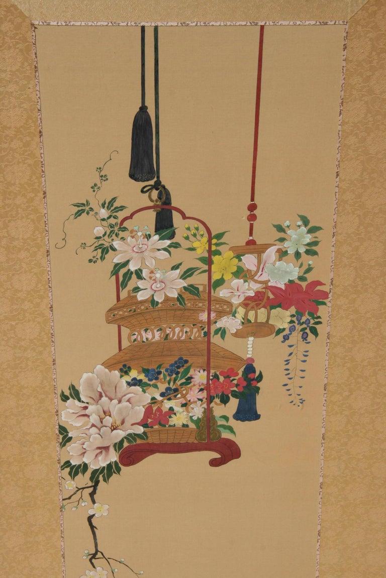 Mid-20th Century Pair Hand Painted Asian Panels/Screens For Sale