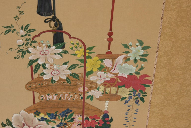 Pair Hand Painted Asian Panels/Screens For Sale 1