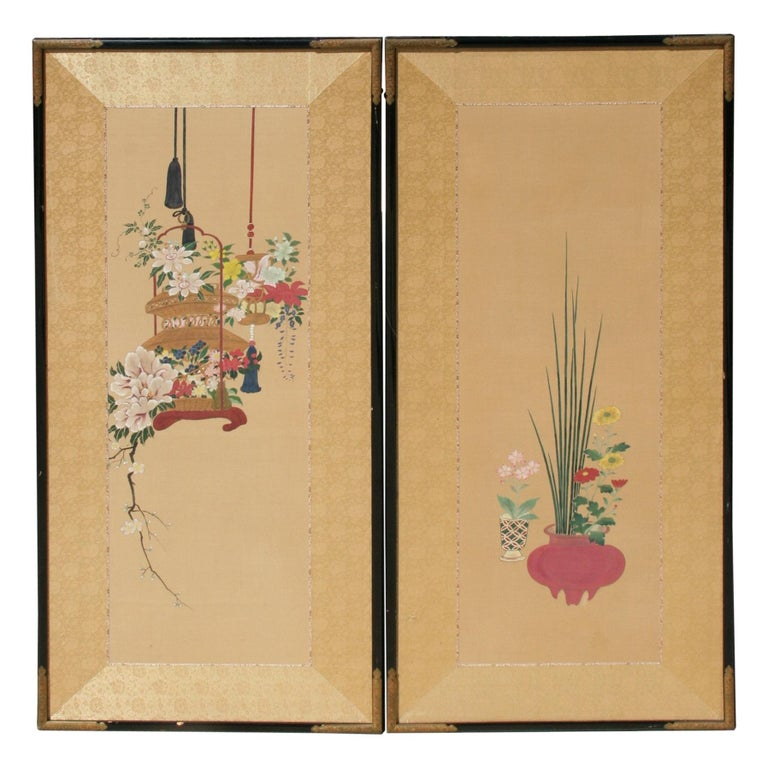 Pair Hand Painted Asian Panels/Screens For Sale