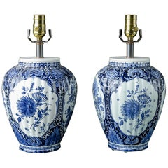 Pair of Hand Painted Blue and White Delft Table Lamps