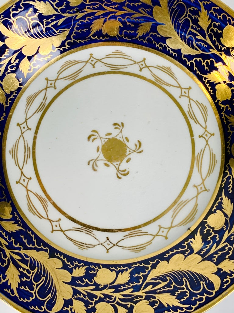 George III Pair Hand-Painted Blue & Gold Antique Porcelain Dishes, Late 18th Century c-1790 For Sale