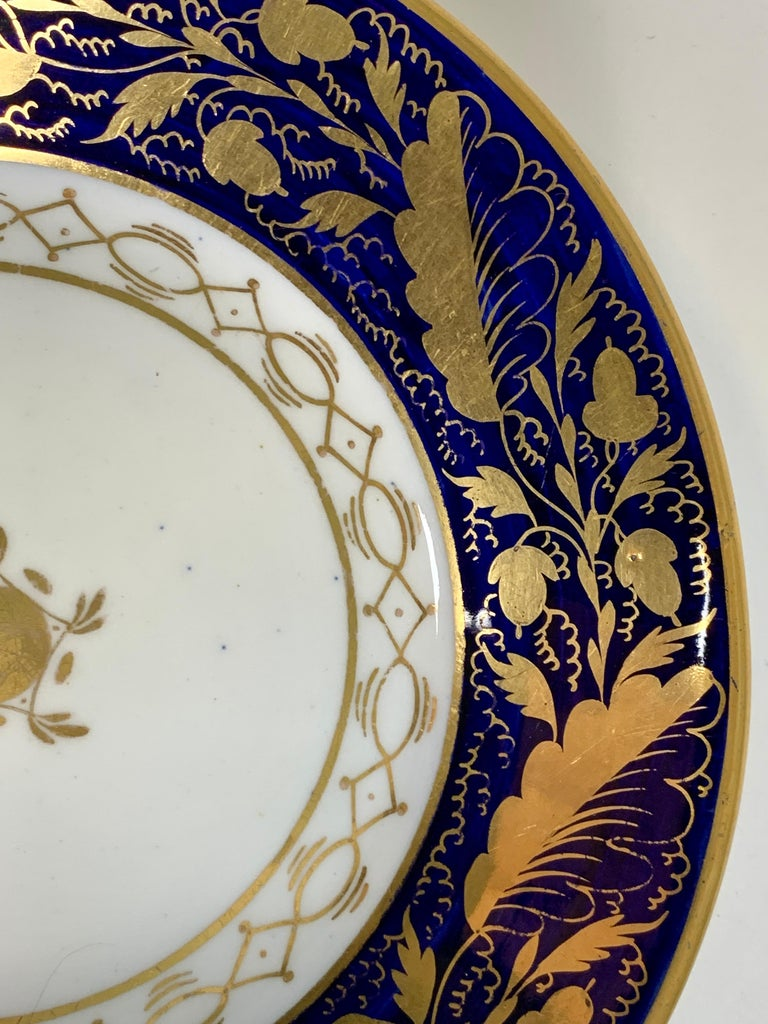 Pair Hand-Painted Blue & Gold Antique Porcelain Dishes, Late 18th Century c-1790 In Excellent Condition For Sale In Katonah, NY
