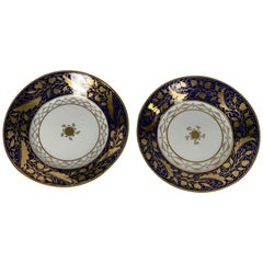 Pair Hand-Painted Blue & Gold Antique Porcelain Dishes, Late 18th Century c-1790