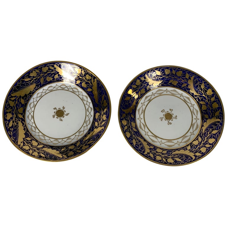 Pair Hand-Painted Blue & Gold Antique Porcelain Dishes, Late 18th Century c-1790 For Sale