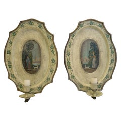 "Pair of Hand Painted English Regency Style ""Tole"" Sconces"