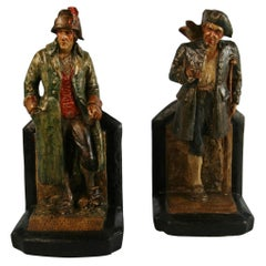 Pair Hand Painted Pirate and Sea Captain Sculptures/Bookends