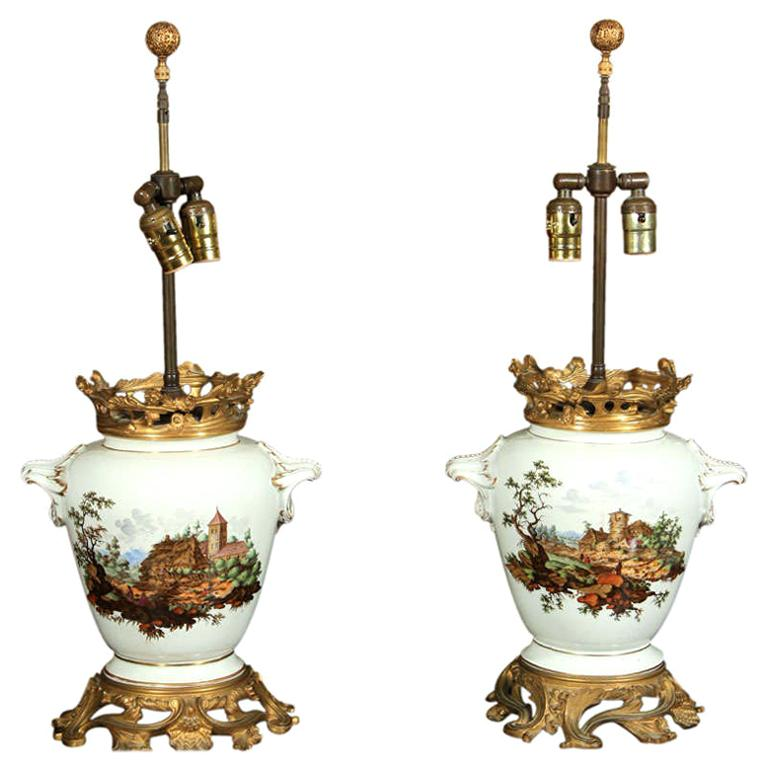 Pair Hand Painted Porcelain Lamps, Gilt Bronze Mounts