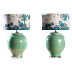 Handmade Turquoise Glazed Ceramic Vases Lamps Custom Lion Hand Made Shades, Pair