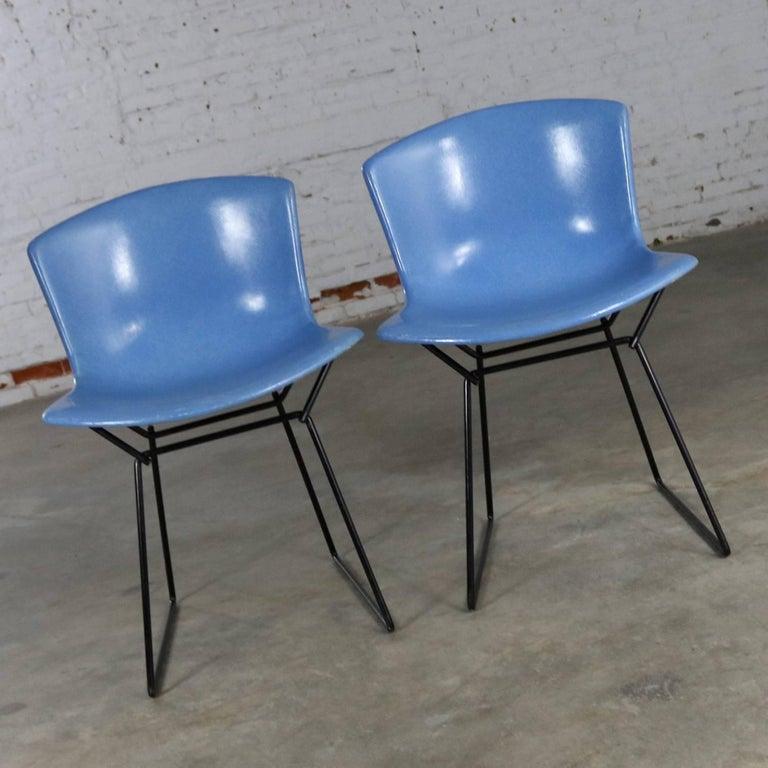 Pair of Harry Bertoia for Knoll Blue Fiberglass Side Chairs Black ...