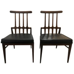 Pair Harvey Probber Matching Flat Spindle Back Midcentury Architectural Chairs