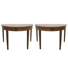 Pair Hepplewhite Style Inlaid Demi Lune Console Tables