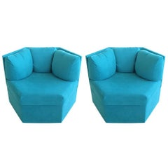 Pair Hexagonal Swivel Chairs by Milo Baughman for Thayer Coggin