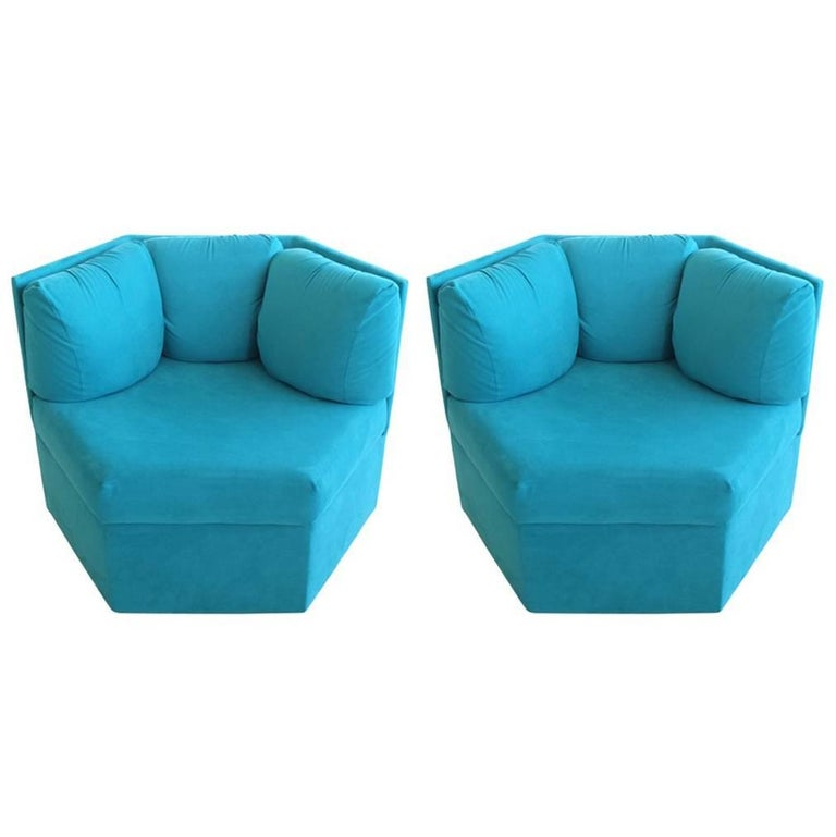 Pair Hexagonal Swivel Chairs by Milo Baughman for Thayer Coggin For Sale