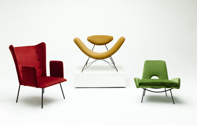 Designed by Carlo Hauner and Martin Eisler for Forma S.A Móveis e Objetos de Arte in circa 1960. A modern Brazilian armchair made in the curved iron structure and recently upholstery in red velvet.   This particular design consists of a