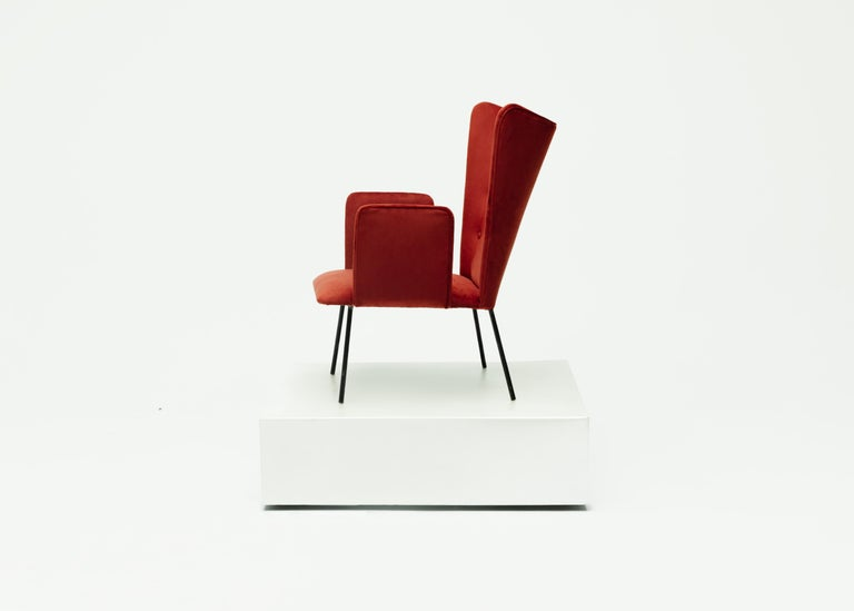 Mid-Century Modern Pair of High Armchair by Carlo Hauner and Martin Eisler, Brazilian Design For Sale