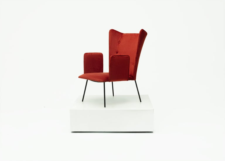 Pair of High Armchair by Carlo Hauner and Martin Eisler, Brazilian Design In Good Condition For Sale In Clifton, NJ