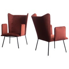 Pair of High Armchair by Carlo Hauner and Martin Eisler, Brazilian Design