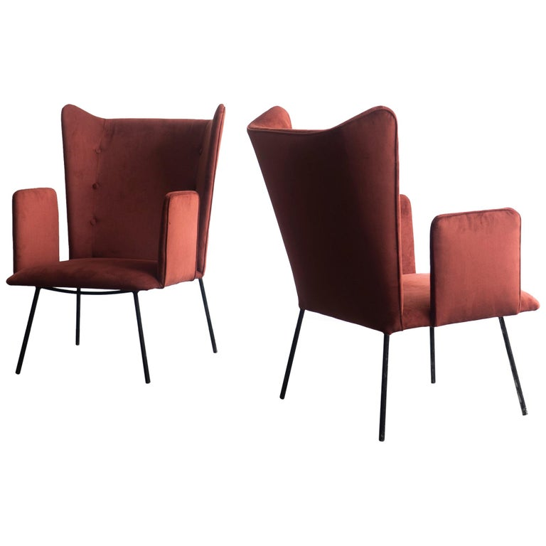 Pair of High Armchair by Carlo Hauner and Martin Eisler, Brazilian Design For Sale