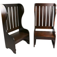 Pair of High Back Mission Chairs