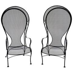 Pair of High Back Outdoor Canopy Chairs by Russell Woodard Satin Black Excellent