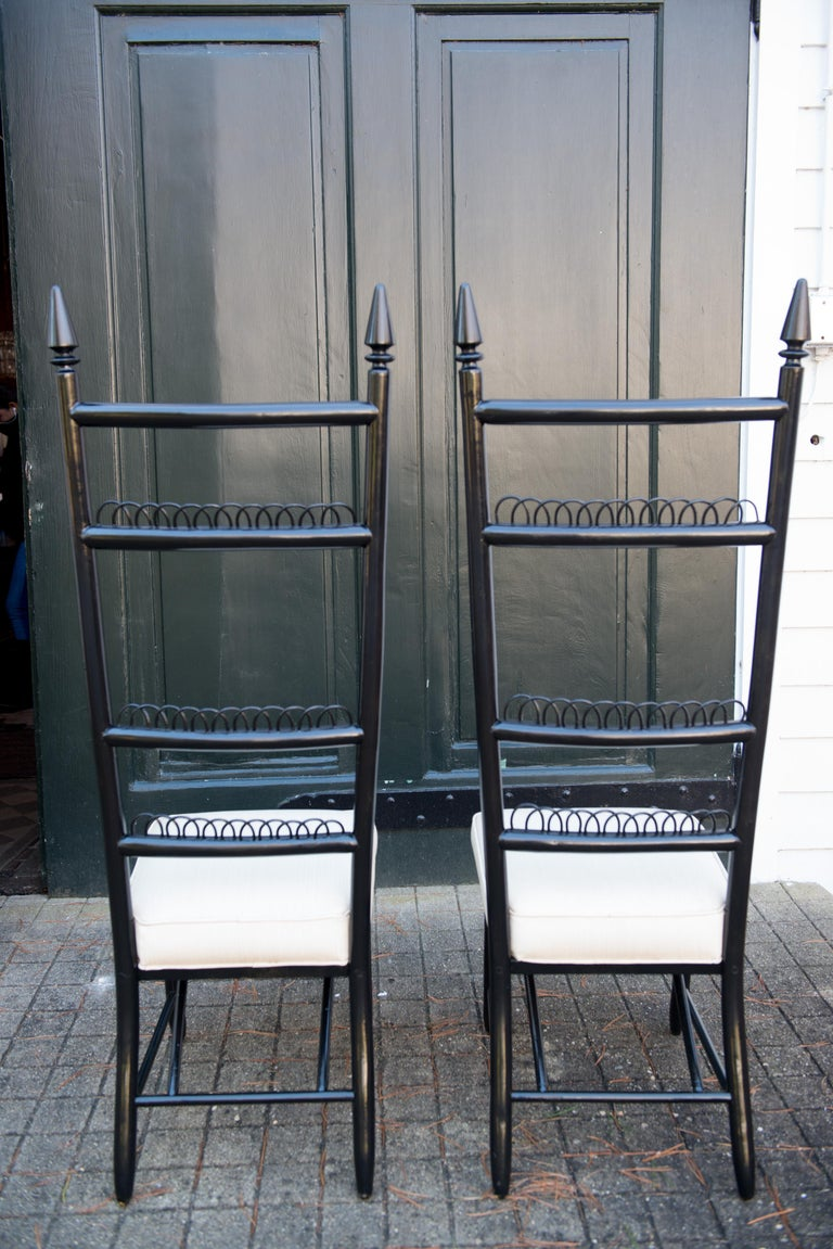 Pair of High Ladder Back Chairs For Sale 4